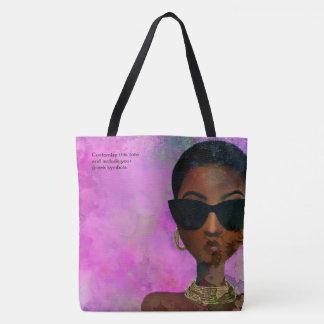 Custom Pink and Green Black Art Tote Bag