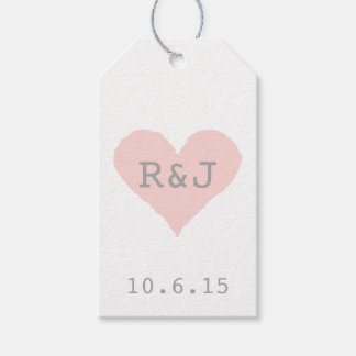 Custom Pink and Grey Heart Gift Tags