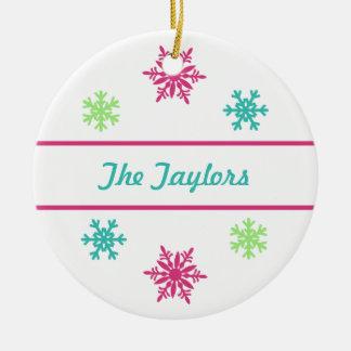 Custom Pink Aqua Snowflake Christmas Ornament