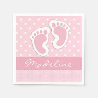 Custom Pink Baby Feet White Polkadots Pattern Disposable Napkins