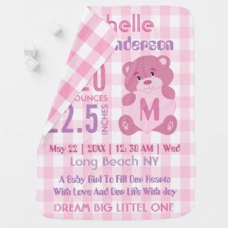 Custom pink baby girl birth stats buggy blankets