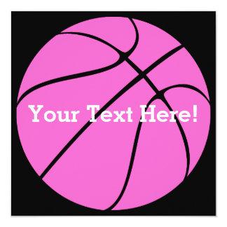 Custom Pink Basketball 13 Cm X 13 Cm Square Invitation Card