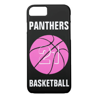Custom Pink Basketball Number & Team Phone Case