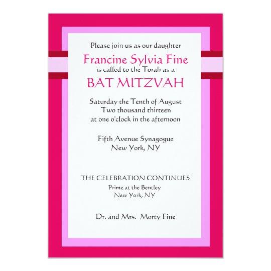 Custom Pink Bat Mitzvah Invitations