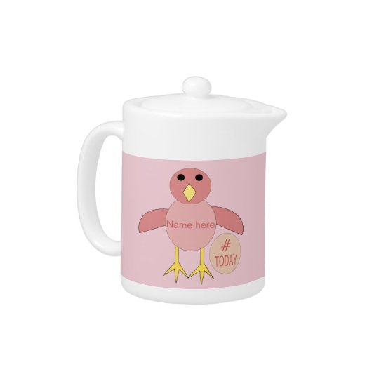Custom Pink Birthday Girl Chick Teapot