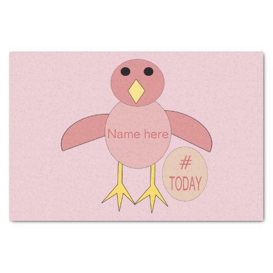 Custom Pink Birthday Girl Chick Tissue Paper