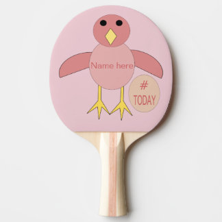 Custom Pink Birthday irl Chick Ping Pong Paddle