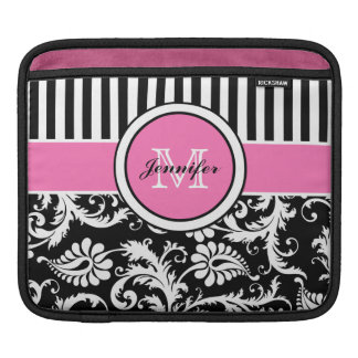 Custom Pink, Black, White Striped Floral Damask iPad Sleeve