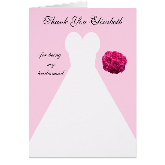 Custom Pink Bridesmaid Thank You Card