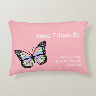 Custom Pink Butterfly Girl's Nursery Decorative Cushion