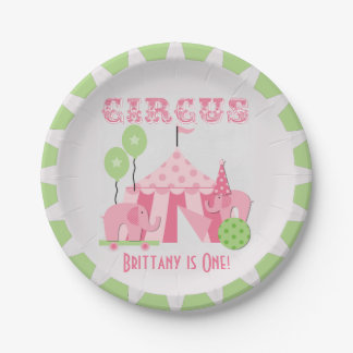 Custom Pink Circus Birthday Paper Plates 7 Inch Paper Plate