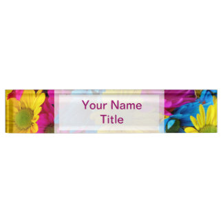 Custom Pink Desk Name Plate daisy colorful flower