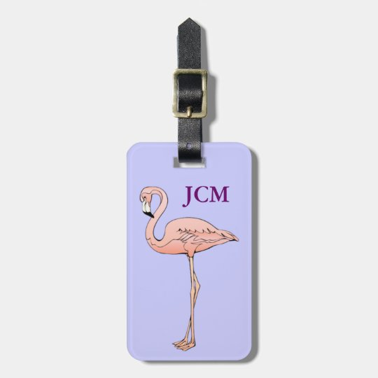 Custom Pink Flamingo ID Identification Monogram Luggage Tag