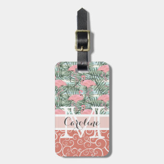Custom Pink Flamingoes Palm Leafs Pattern Luggage Tag
