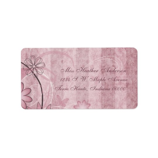 Custom Pink Floral Wedding Address Labels