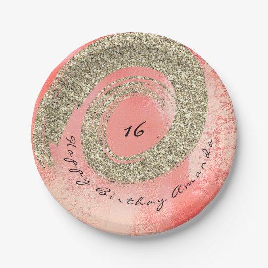 Custom Pink Glitter Peach Rose Gold Spiral Glass