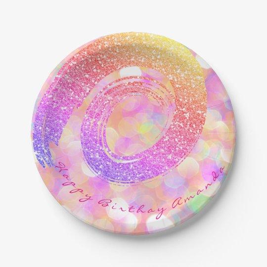 Custom Pink Glitter Rainbow Gold Spiral Glitter Paper