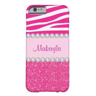 Custom Pink Glitter Sparkles Zebra iPhone 6 Case