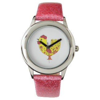 Custom Pink Glitter Watches with Rooster