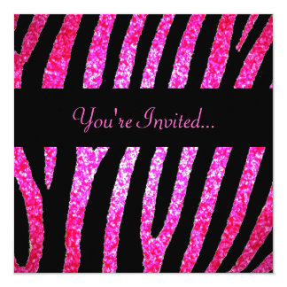 Custom pink glitter zebra stripe invitation
