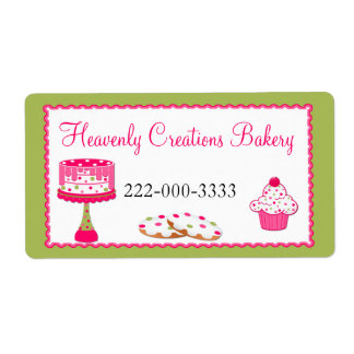 Custom Pink & Green Bakery Label Shipping Label