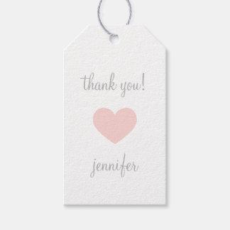 Custom Pink & Grey Heart Thank You