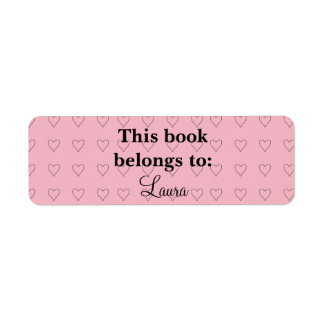 Custom Pink Hearts Bookplate Labels