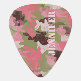 Custom Pink Military Green Camouflage Pattern Plectrum