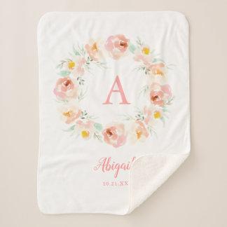 Custom Pink Peony Floral Wreath Sherpa Blanket