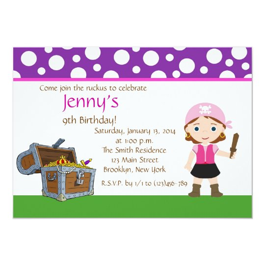 Custom Pink Pirate Girl Birthday Party Invite