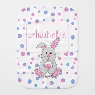 Custom Pink Plaid Bunny Girl Baby Burp Cloth