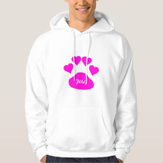 Custom Pink Pug Love Large Black Dog Paw Hearts Hoodie