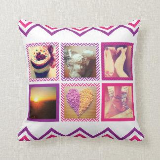 Custom Pink Purple Chevron Instagram Throw Pillow