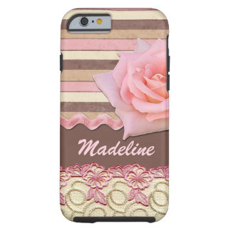 Custom Pink Rose Floral Lace Stripes Pattern Tough iPhone 6 Case