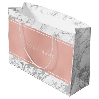Custom Pink Rose Gold Metallic Minimal Marble Gray Large Gift Bag