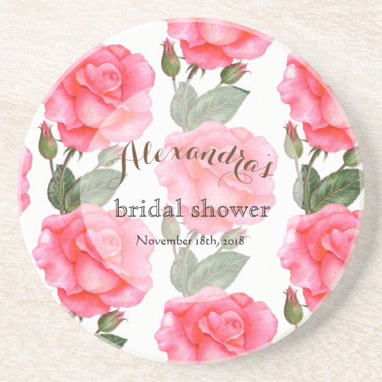 Custom Pink Roses Bridal Showers Coaster