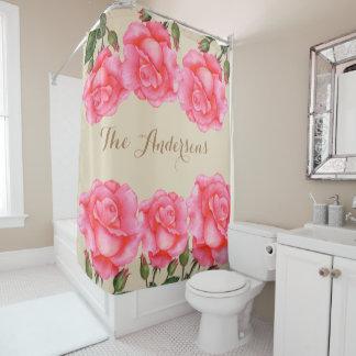 Custom Pink Roses Floral Art Shower Curtain