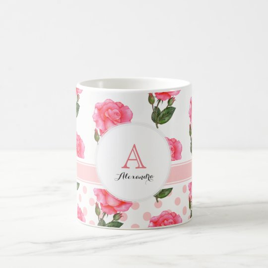 Custom Pink Roses Polka Dot Monogram Circle Coffee