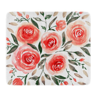 Custom Pink Roses Watercolor Floral Illustration Cutting Board