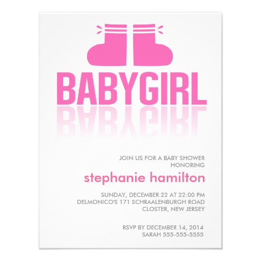 Custom pink socks baby girl gradient personalized announcement