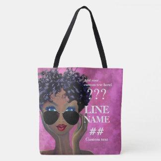 Custom Pink Sorority Black Art Tote Bag