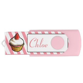 Custom Pink Strawberry Cupcake Stripe Flash Drive