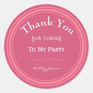 Custom Pink Thank You Sticker Round Sticker
