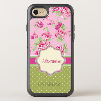 Custom Pink & Violet Red Roses & green polka dots OtterBox Symmetry iPhone 8/7 Case