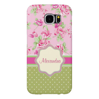 Custom Pink & Violet Red Roses & green polka dots Samsung Galaxy S6 Cases