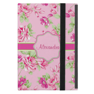 Custom Pink & Violet Red Roses on pink name Covers For iPad Mini