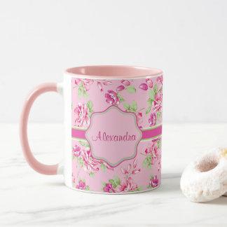 Custom Pink & Violet Red Roses on pink name Mug