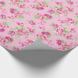 Custom Pink & Violet Red Roses on pink Wrapping Paper