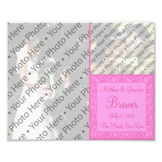 Custom Pink Wedding Photo Collage Print Photo Art