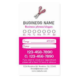 Custom pink white hair appointment cards business card template